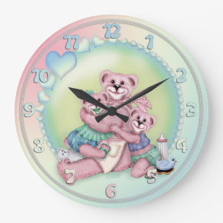FAMILY BEAR LOVE CARTOON LARGE ROUND CLOCK LARGE