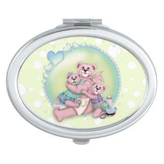 FAMILY BEAR LOVE compact mirror Oval