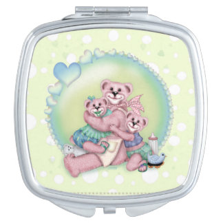 FAMILY BEAR LOVE compact mirror Square