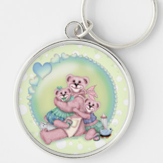 FAMILY BEAR LOVE Premium Round Keychain L