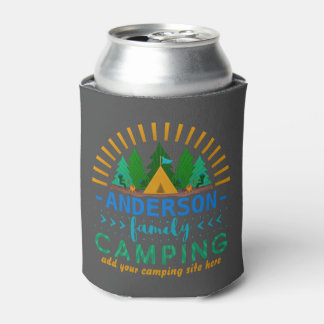 Family Camping Trip | Add Name and Campsite Gray Can Cooler