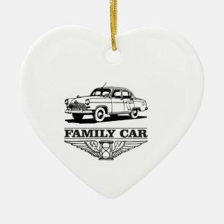 family car drive ceramic heart ornament