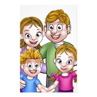 Family Cartoon Characters Stationery