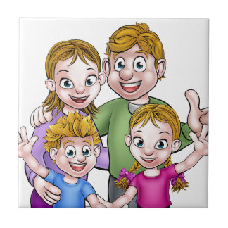 Family Cartoon Characters Tile