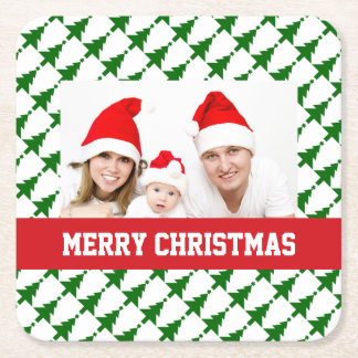 Family Christmas Photo Square Paper Coaster