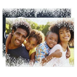 Family Christmas Photo White Snowflakes Overlay Card