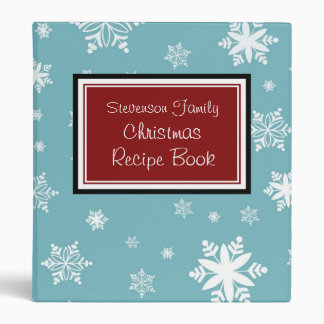 Family Christmas Recipe Binder Red Blue Snow