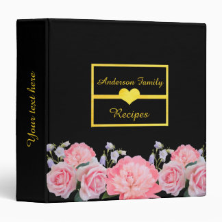 Family cookbook binder roses and peony on black