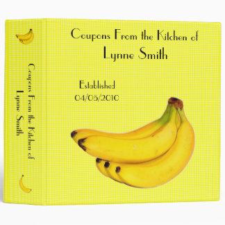 """Family Coupon Binder-- Banana design 2.8 """" 3 Ring Binder"""
