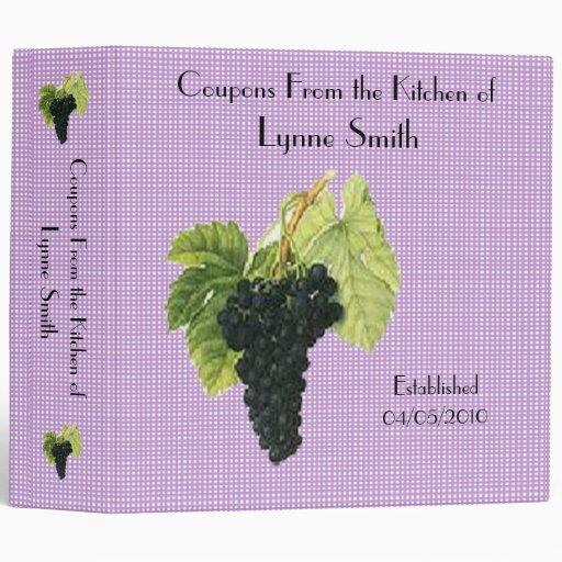 """Family Coupon Binder-- Grapes design 2.8 """""""