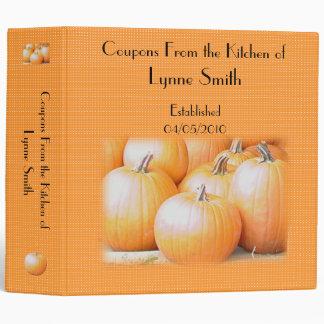 "Family Coupon Binder-- Pumpkin design 2.8 "" 3 Ring Binders"