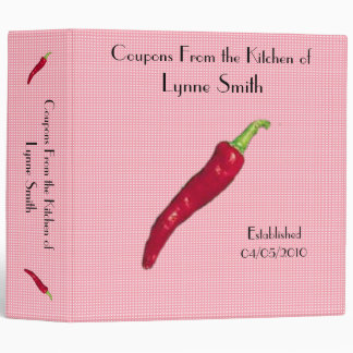 """Family Coupon Binder-- Red Pepper design 2.8 """""""