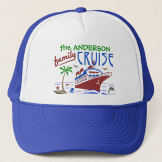 Family Cruise Ocean Ship Vacation | Custom Name Trucker Hat