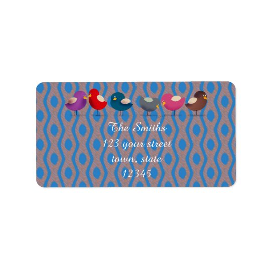 Family Cute Colourful Birds Address Label
