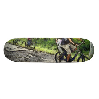Family cycling on a dirt track custom skateboard