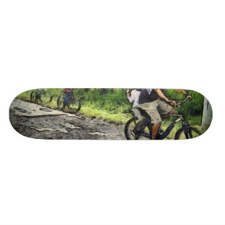 Family cycling on a dirt track skate board decks