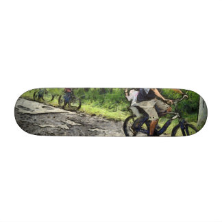 Family cycling on a dirt track skate decks