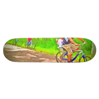 Family cycling on a dirt track skate deck