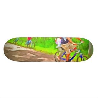 Family cycling on a dirt track skate board