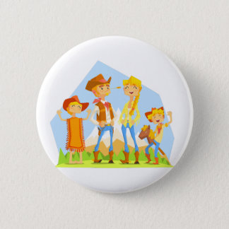 Family Dressed As Cowboys With Mountain Landscape 2 Inch Round Button