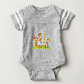 Family Dressed As Cowboys With Mountain Landscape Baby Bodysuit