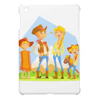 Family Dressed As Cowboys With Mountain Landscape Case For The iPad Mini