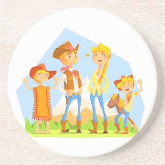 Family Dressed As Cowboys With Mountain Landscape Coaster