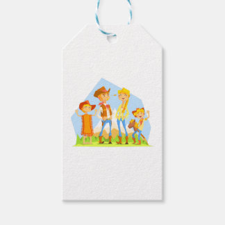 Family Dressed As Cowboys With Mountain Landscape Gift Tags