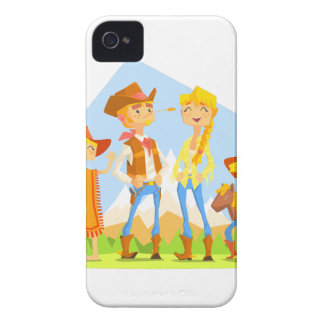 Family Dressed As Cowboys With Mountain Landscape iPhone 4 Case-Mate Case