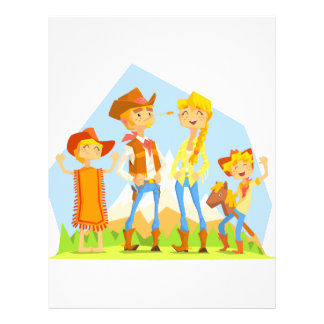 Family Dressed As Cowboys With Mountain Landscape Letterhead