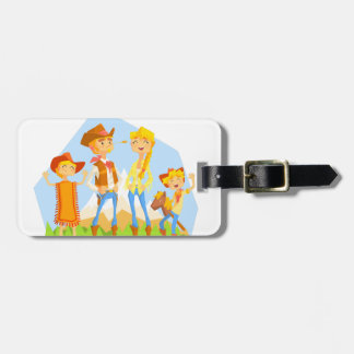 Family Dressed As Cowboys With Mountain Landscape Luggage Tag