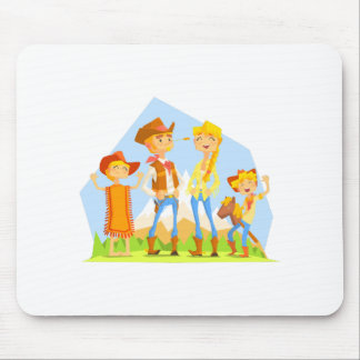 Family Dressed As Cowboys With Mountain Landscape Mouse Pad