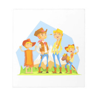 Family Dressed As Cowboys With Mountain Landscape Notepad