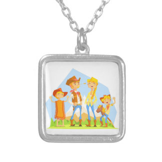 Family Dressed As Cowboys With Mountain Landscape Silver Plated Necklace
