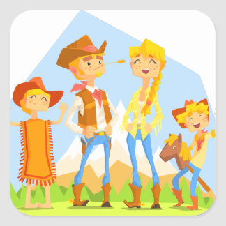 Family Dressed As Cowboys With Mountain Landscape Square Sticker