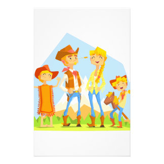 Family Dressed As Cowboys With Mountain Landscape Stationery