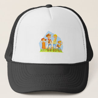 Family Dressed As Cowboys With Mountain Landscape Trucker Hat