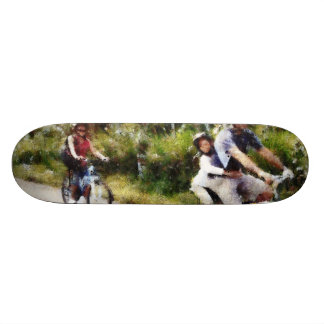 Family enjoying a cycle ride skate board