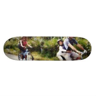 Family enjoying a cycle ride skate board