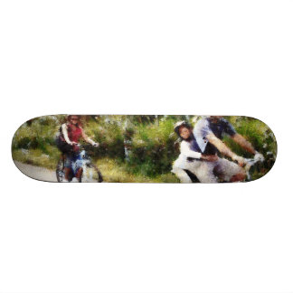 Family enjoying a cycle ride skateboard deck