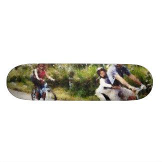 Family enjoying a cycle ride custom skateboard