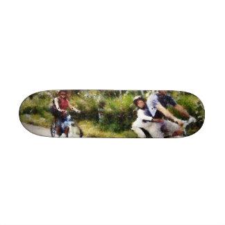 Family enjoying a cycle ride skateboard