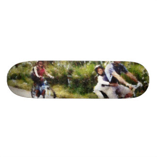 Family enjoying a cycle ride skateboard deck