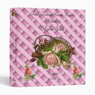 "Family Favorite Recipes -- Pink Rose design 1"" 3 Ring Binders"