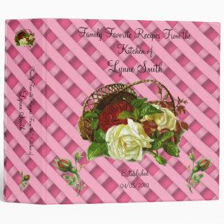 Family Favorite Recipes -- Red & White Rose design Vinyl Binder