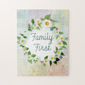 Family First Inspirational Quote Jigsaw Puzzle