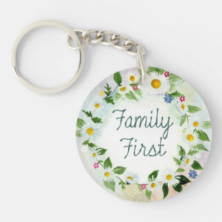 Family First Inspirational Quote Keychain