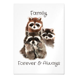 Family Forever Always Funny Raccoon Animals Magnetic Invitations