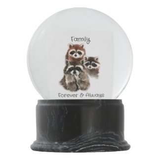 Family Forever Always Funny Raccoon Animals Snow Globe