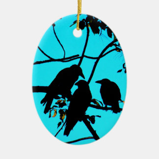 Family fun peace and joy crows ceramic oval ornament